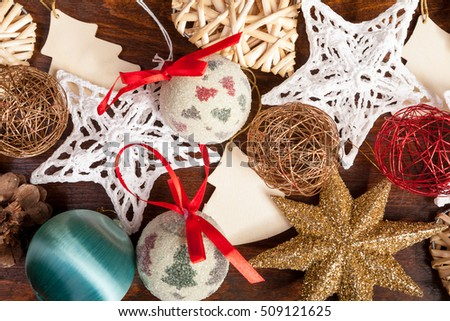 Different type of christmas decorations. Xmas ornaments #509121625
