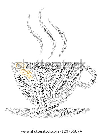 Different type of coffee in word cloud
