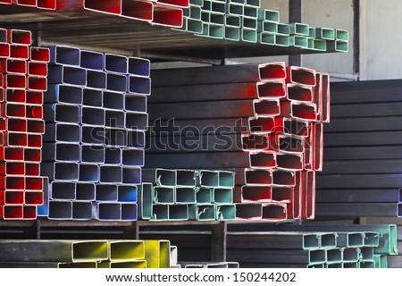 Different type of metal pipes for construction