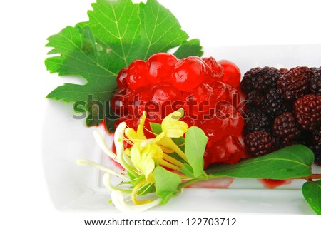 different types of berry on desert plate