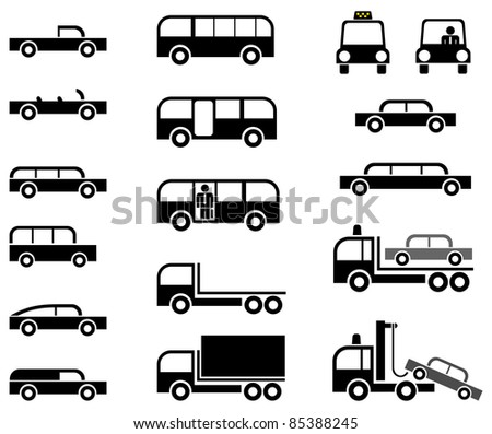 Different types of car body - stylized vector icons. Cars, trucks, tow trucks and buses. Isolated on white background.