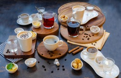 Different types of coffees and teas- perspective view