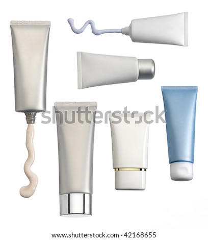 Different types of cosmetic containers isolated on white background. - stock photo