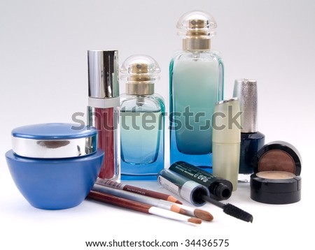 Different Types Of Cosmetics On White Background Stock Photo ...
