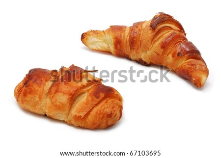 Different types of croissants isolated on white