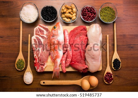 Shutterstock Different types of healthy uncooked proteins