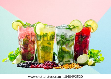 Different types of mojito cocktail on isolated pastel color