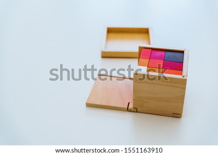 Different types of montessori educational material for use in schools for children in primary and primary school.