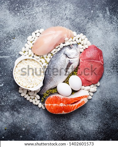 Different types of natural healthy foods contain protein: fish, meat, chicken, eggs, dairy products, beans on gray concrete background, top view, closeup. Protein foods for diet and proper nutrition