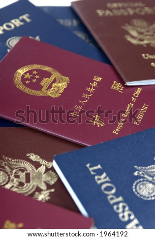 Different types of passports from China and the USA