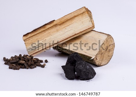 different types of plant-derived fuel: coal, wood, pellets from ligno cellulose