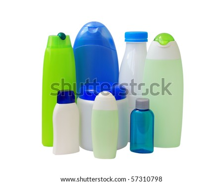 Different types of plastic bottles isolated on white background
