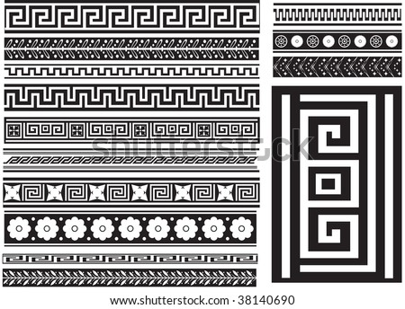 Different types of seamless Greek patterns. Raster illustration