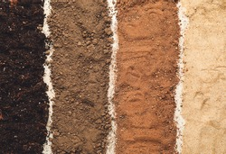 Different types of soil as background