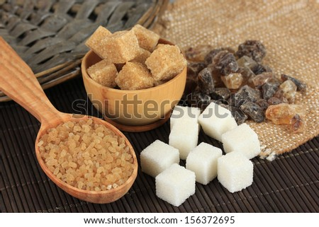 Different types of sugar on table close-up #156372695