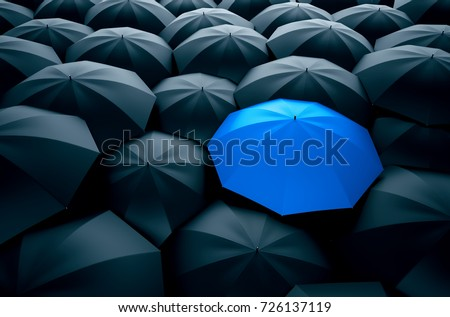 Different, unique and standing out of the crowd blue umbrella. 3D Illustration