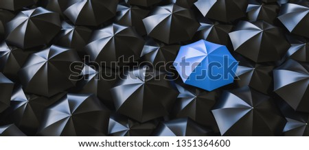Different, unique and standing out of the crowd blue umbrella - 3d rendering