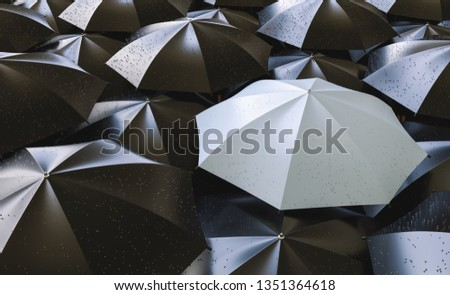 Different, unique and standing out of the crowd gray umbrella with rain drops - 3d rendering