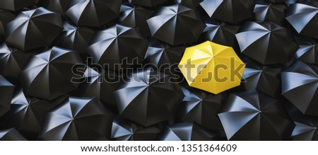 Different, unique and standing out of the crowd yellow umbrella - 3d rendering