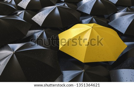 Different, unique and standing out of the crowd yellow umbrella with rain drops - 3d rendering