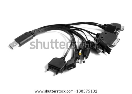Different usb charging plugs on a white background