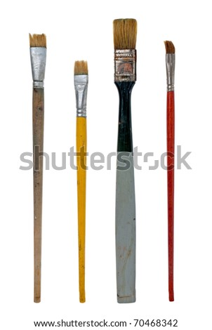Different used art brushes isolated on white background.