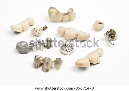 different used dental bridges and crowns