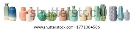 Different vases on white background Stockfoto ©