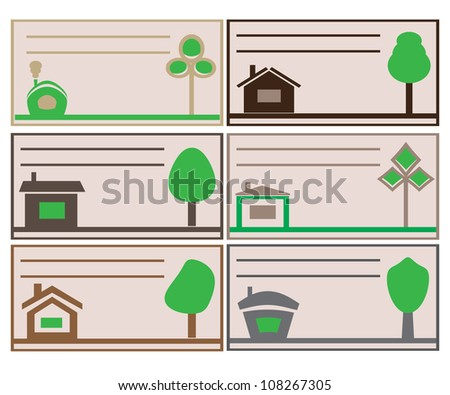 different versions of business cards with a picture of a tree and house