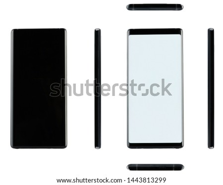 Different views of black generic smartphone with big screen isolated