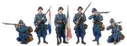 different views of French soldier 1914 1918 isolated on a white background