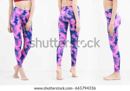 Different views of young woman in sport pants on white background #665794336
