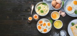 Different Ways to Cook Eggs on dark wooden background.Top view with copy space
