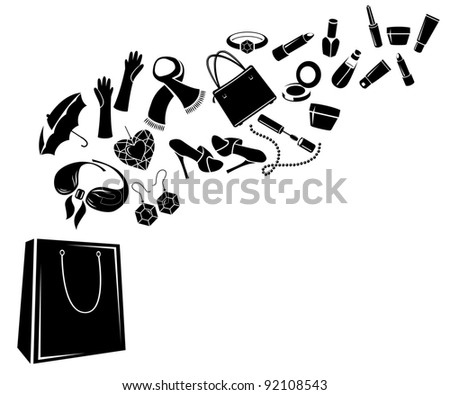 Different woman's things in bag. Black-and-white. Raster version.