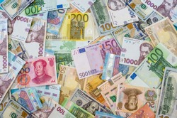 Different world banknotes, money background. Business concept. Much money. View from above. Financial background.