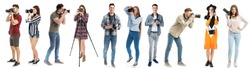 Different young photographers on white background