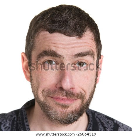 difficult choice (man with half of his face bearded and half covered in designer stubble making funny face) - stock photo