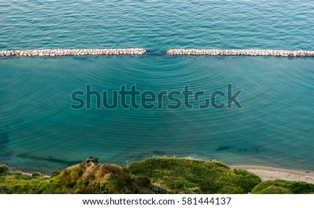 Diffraction waves in the sea seen along the coastline near Pesaro