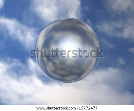 Diffused mirror sphere on sky background