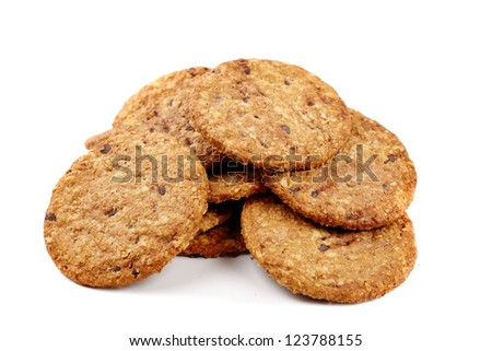 Digestive bio wholegrain biscuits with chocolate chips isolated on white background