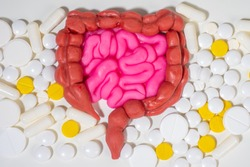 Digestive system. The human intestines are surrounded by pills. Treatment of intestinal diseases. Digestive problems, colic, dysbacteriosis. Digestive pills. Probiotics.