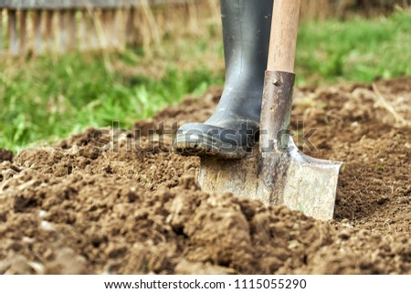 Photo of  Digging the earth with a spade at countryside. Male foot wearing a rubber boot digging the earth with a spade close up.
