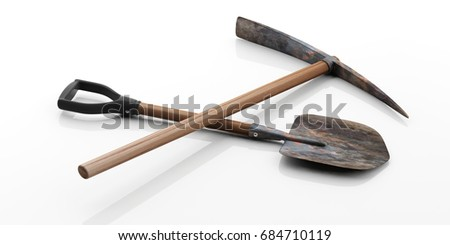 Digging tools. Pickaxe and shovel isolated on white background. 3d illustration
