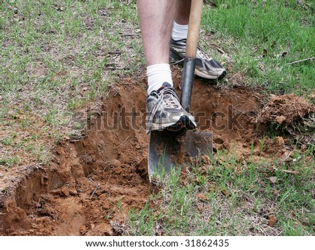 Digging with a spade
