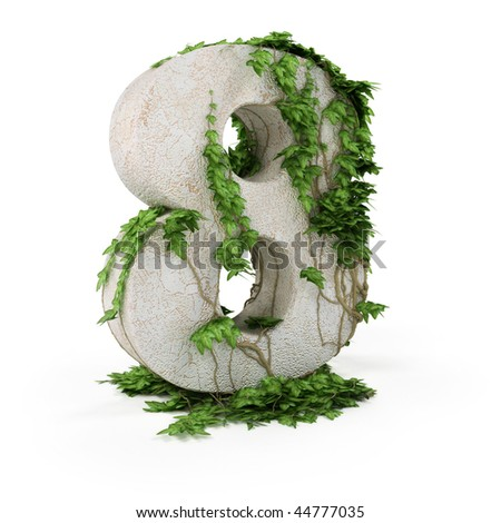 Digit eight threads covered with ivy isolated on white backgro