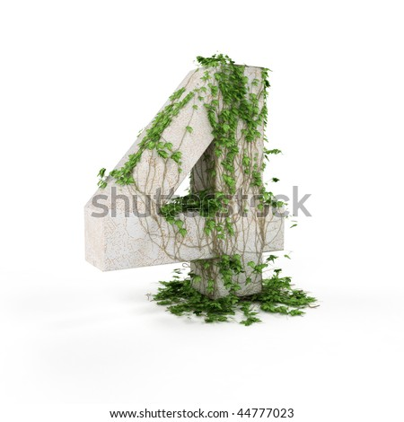 Digit four threads covered with ivy isolated on white background.
