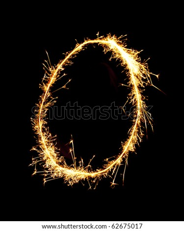 Digit 0 made of sparklers