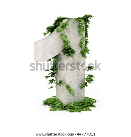 Digit one threads covered with ivy isolated on white background.