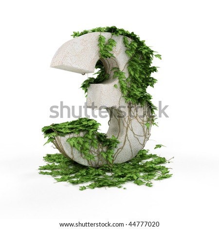Digit three threads covered with ivy isolated on white background.