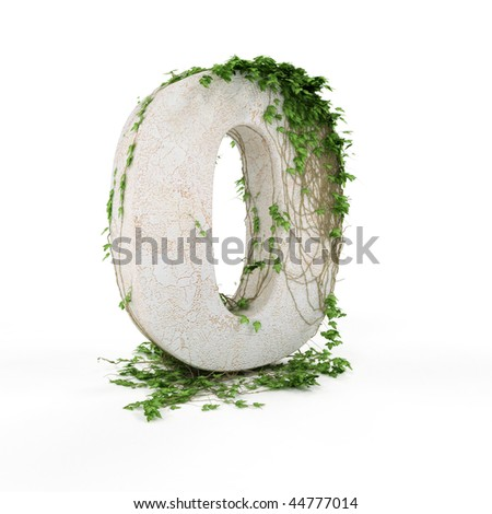 Digit zero threads covered with ivy isolated on white background.